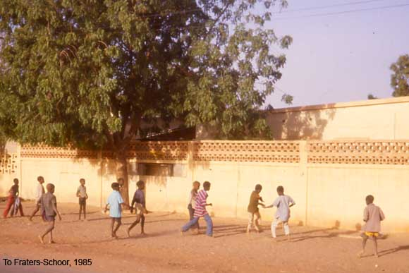 Children playing outside in a street in Zinder, Niger