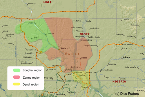Map of southwest Niger with areas with different Songhay speech varieties