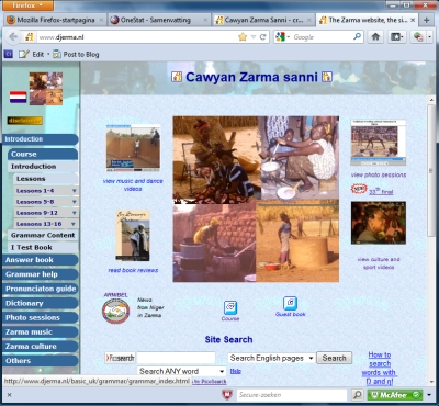 Screen dump of Zarma site April 2012